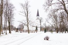 Sigulda Evangelic Lutheran Church. Is pictured on a winter day.  Sigulda is a town in Latvia Stock Photos