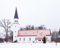 Sigulda Evangelic Lutheran Church. Is pictured on a winter day.  Sigulda is a town in Latvia Royalty Free Stock Photo