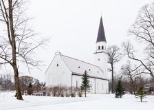 Sigulda Evangelic Lutheran Church. Is pictured on a winter day.  Sigulda is a town in Latvia Stock Images