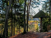 Sigulda, Lettland: Goldene Herbstlandschaftsansicht über Gauja River Valley in Nationalpark Gauja stockfoto