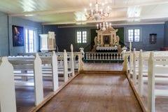 SIGULDA, LETTONIE - 20 AOÛT 2016 : Intérieur d'une église dans la réservation de musée de Turaida, Latv photo libre de droits