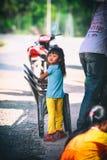 Cambodian kids play in slum village near Otres Beach in Sihanoukville Royalty Free Stock Photography