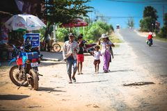 Cambodian kids play in slum village near Otres Beach in Sihanoukville Royalty Free Stock Photos