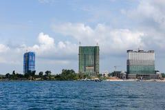 Modern high-rise buildings under construction at Sihanoukville o. Sihanoukville, Cambodia - 25 January 2018: Modern high-rise buildings under construction at Stock Photos
