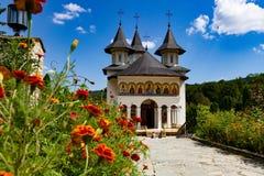 Sihastria Monastery on a sunny day in Bucovina stock photo