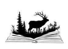 Sihlouette de cerfs communs dans le livre ouvert Image stock