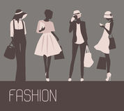 Sihlouette of Fashion women Royalty Free Stock Photography
