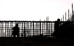 Sihouette Construction work Royalty Free Stock Image