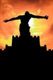 Sihouette da estátua do Jesus Cristo Fotos de Stock Royalty Free