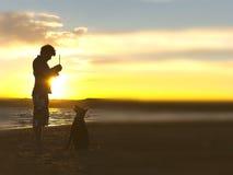 Sihouette de chien et de centre serveur Photographie stock
