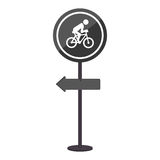 Sihouette pole with road sign with ride bike symbol Royalty Free Stock Photos