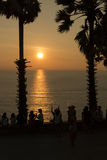 Sihouette solnedgång Royaltyfri Fotografi