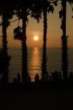 Sihouette solnedgång Arkivfoton