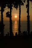 Sihouette-Sonnenuntergang Stockfotos