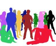 Sihouettes di un gruppo di giovani illustrazione di stock