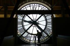 Sihoutte de la cara de reloj Foto de archivo libre de regalías