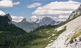 Sija saddle  from hillside of Veliki Vrh in Karawanken mountains Royalty Free Stock Photos