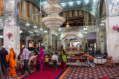 Sikh Temple at Paonta Sahib. Sikh believers are worshipping inside the Sikh temple at Paonta Sahib,india, a Sikh pilgrimage destination Royalty Free Stock Images