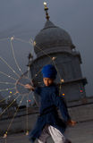 Sikh Boy Net Weapon Practice Royalty Free Stock Image
