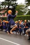 Sikh devotee performing at 2012 Baisakhi festival Stock Photo
