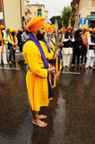 Sikh devotee show ritual swords at 2013 Baisakhi festival in Brescia Royalty Free Stock Image