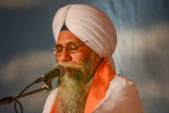 Sikh devotee with white turban Stock Image