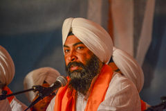 Sikh devotee with white turban Royalty Free Stock Photos