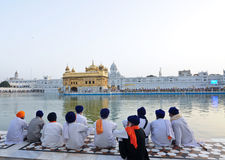 Sikh devotees at Golden temple stock images
