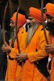 Sikh devotees take part to Baisakhi procession Stock Photos