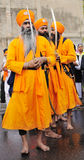Sikh devotees take part to Baisakhi procession Stock Images