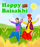 Sikh doing Bhangra, folk dance of Punjab, India Stock Photo
