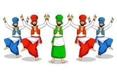 Sikh doing Bhangra. Folk dance of Punjab, India in vector Stock Images