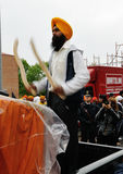 Sikh drummer at 2012 Baisakhi festival in Brescia Royalty Free Stock Photo
