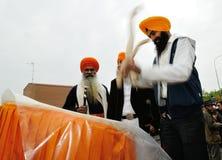 Sikh drummer at 2012 Baisakhi festival in Brescia Royalty Free Stock Images
