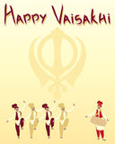 Sikh festival. An illustration of a happy vaisakhi greeting card with sikh symbol and punjabi dancers on a sunshine yellow background Royalty Free Stock Photography