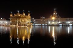 Sikh Golden Temple in Amritsar. Golden Temple in Amritsar, Punjab India at night. The most important place for all Sikhs Stock Image