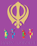 Sikh greeting card design. An illustration of a sikh greeting card design with symbol punjabi dancers and the words happy vaisakhi on a purple background Stock Photos