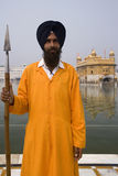 Sikh Guard - Golden Temple - Amritsar - India. Sikh guard with spear at the Golden Temple Complex in the Sikh town of Amritsar in the Punjab area of North West stock images