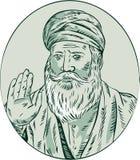 Sikh Guru Priest Waving Etching Royalty Free Stock Images