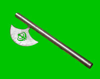 Sikh hatchet. Gurkhas hatchet, traditional indian axe with sikh symbol, isolated on green Stock Images