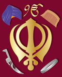 Sikh holy symbol. An illustration of the holy symbol of sikhism in gold  with articles of sikh culture on a maroon background Royalty Free Stock Image