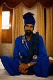 Sikh Man Blue Sitting Royalty Free Stock Photos