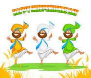 Sikh man doing Bhangra dance Stock Photos