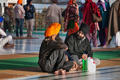 Sikh man praying in Golden Temple. Amritsar. India Stock Images