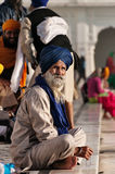 Sikh man sitting near the lake at Golden Temple in the early morning. Amritsar. India Stock Photography