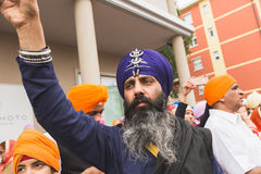 Sikh man taking part in the Vaisakhi parade Royalty Free Stock Photo