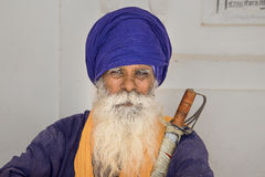 Sikh man visiting the Golden Temple in Amritsar, Punjab, India. Royalty Free Stock Images