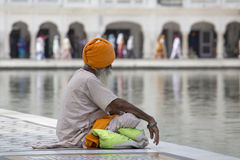 Sikh man visiting the Golden Temple in Amritsar, Punjab, India. Royalty Free Stock Image