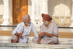Sikh men visiting the Golden Temple in Amritsar, Punjab, India. Royalty Free Stock Photo