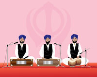 Sikh musicians. An illustration of three traditionally dressed sikh temple musicians with blue turbans and black waistcoats on harmonium and tabla drums vector illustration